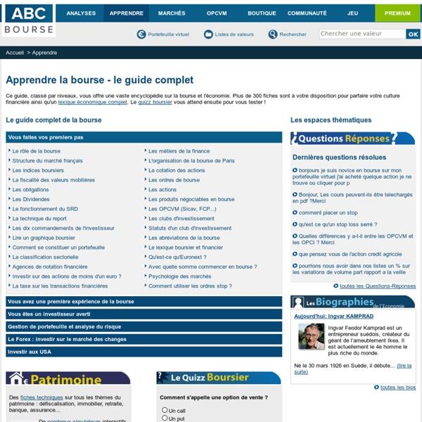 Apprendre la bourse avec abcbourse.com