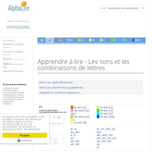 Apprendre à lire - AlphaLire Sons et combinaisons de lettres - Cours de lecture gratuit