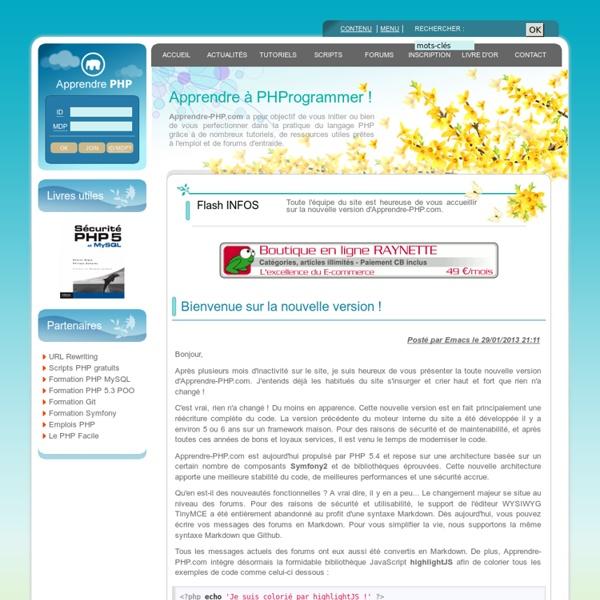 Apprendre-PHP.com - Apprendre à développer avec le langage PHP