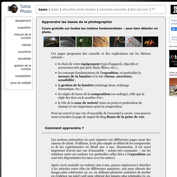 Apprendre les bases de la photo : cours gratuits pour les débutants, explications simples