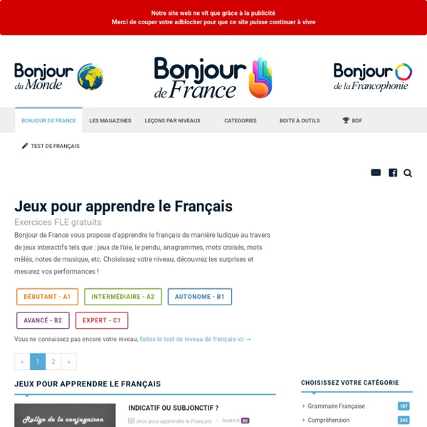 Apprendre le Francais par le jeu