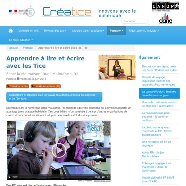 Apprendre à lire et à écrire avec les TICE (académie de Versailles)