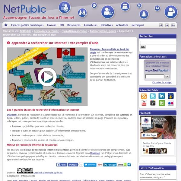 Apprendre à rechercher sur Internet : site complet d'aide