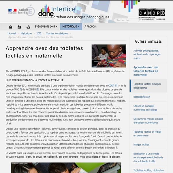 Apprendre avec des tablettes tactiles en maternelle