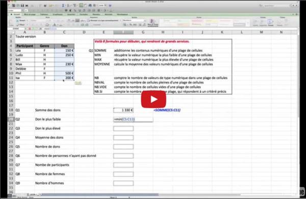 J'apprends Excel - Initiation - 8 formules de calculs de base