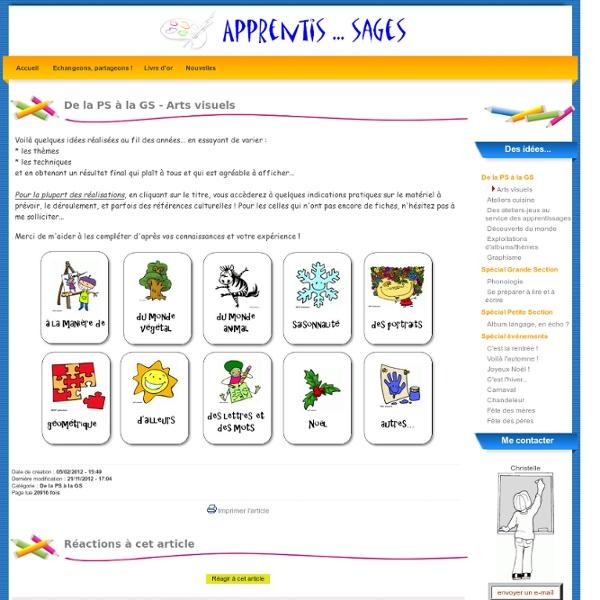 Apprentis...Sages - De la PS à la GS - Arts visuels