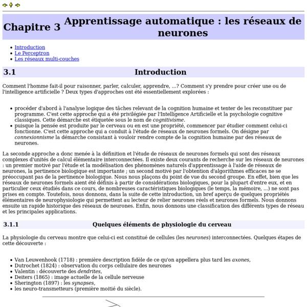 Apprentissage automatique : les réseaux de neurones