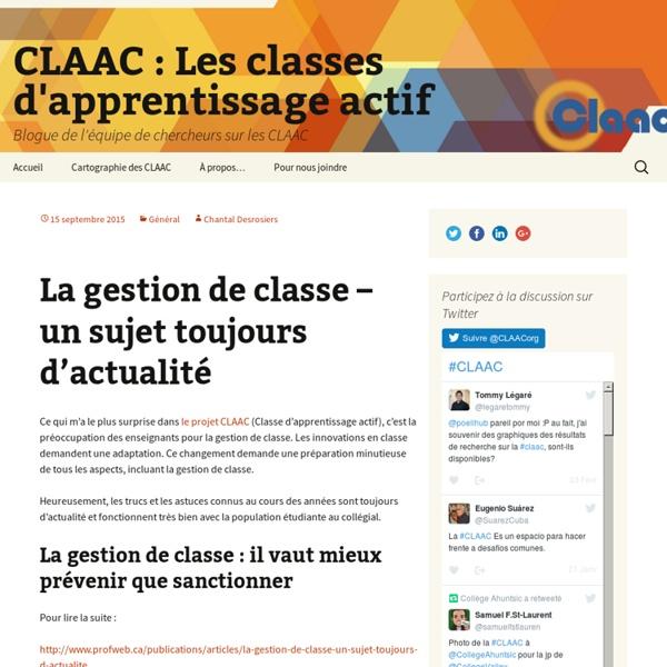 Blogue de l'équipe de chercheurs sur les CLAAC