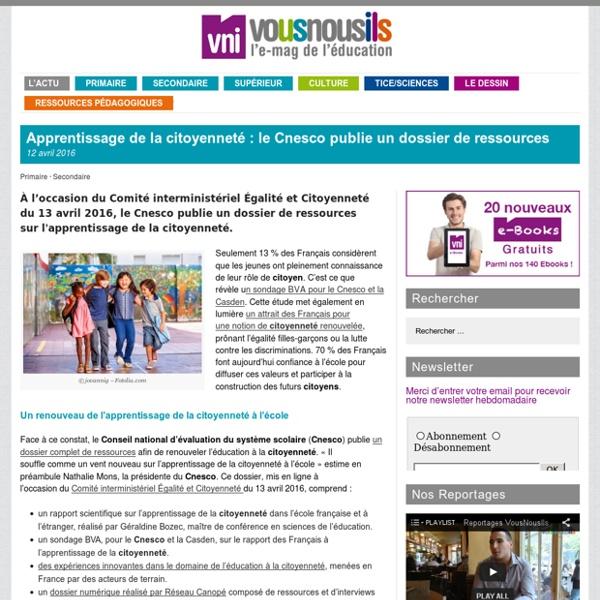 Apprentissage de la citoyenneté : le Cnesco publie un dossier de ressources