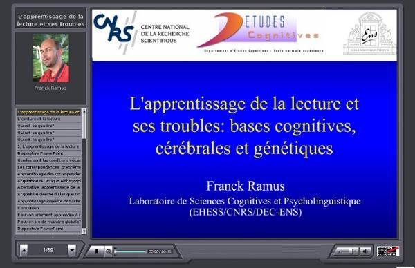 L'apprentissage de la lecture et ses troubles : bases cognitives, cérébrales et génétiques.