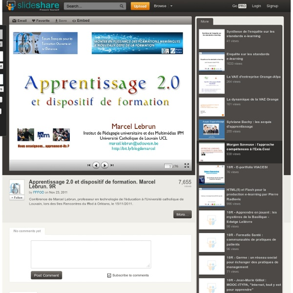Apprentissage 2.0 et dispositif de formation. Marcel Lebrun. 9R
