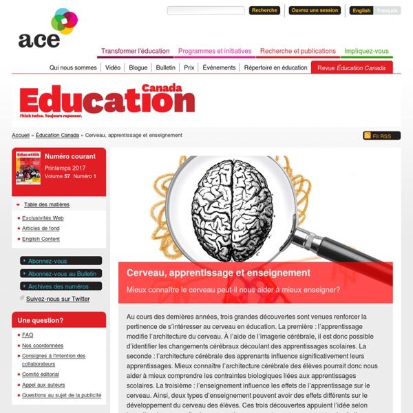 Cerveau, apprentissage et enseignement : Mieux connaître le cerveau peut-il nous aider à mieux enseigner ?