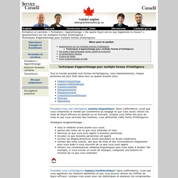 Techniques d'apprentissage pour multiple formes d'intelligence - Guichet emplois