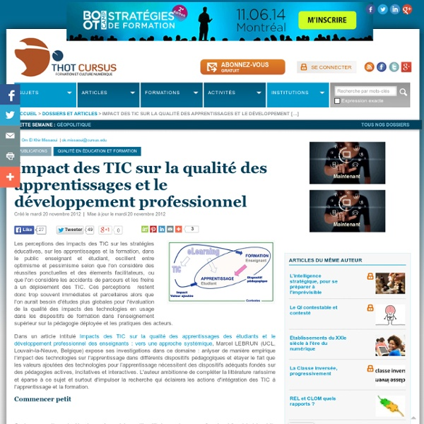 Impact des TIC sur la qualité des apprentissages et le développement professionnel