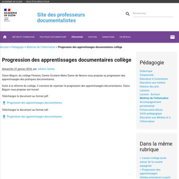 Progression des apprentissages documentaires collège
