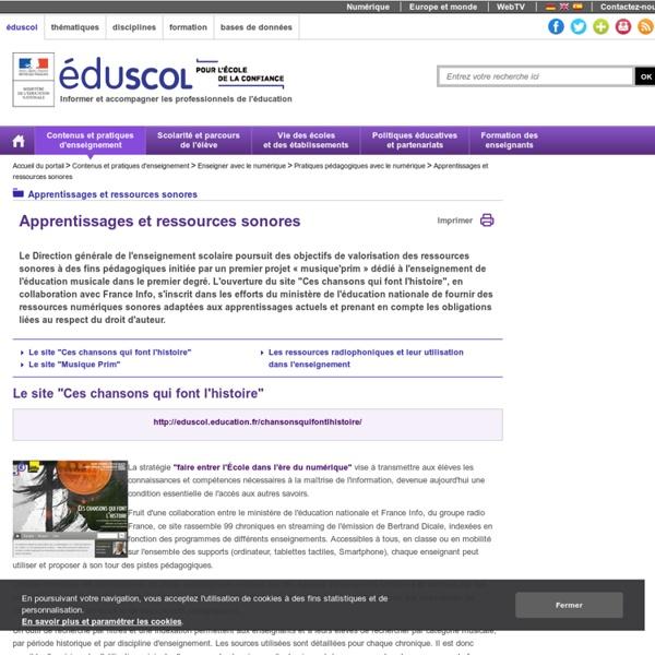 Apprentissages et ressources sonores - Apprentissages et ressources sonores