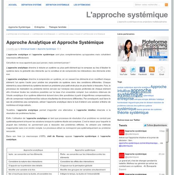 Approche Analytique et Approche Systémique