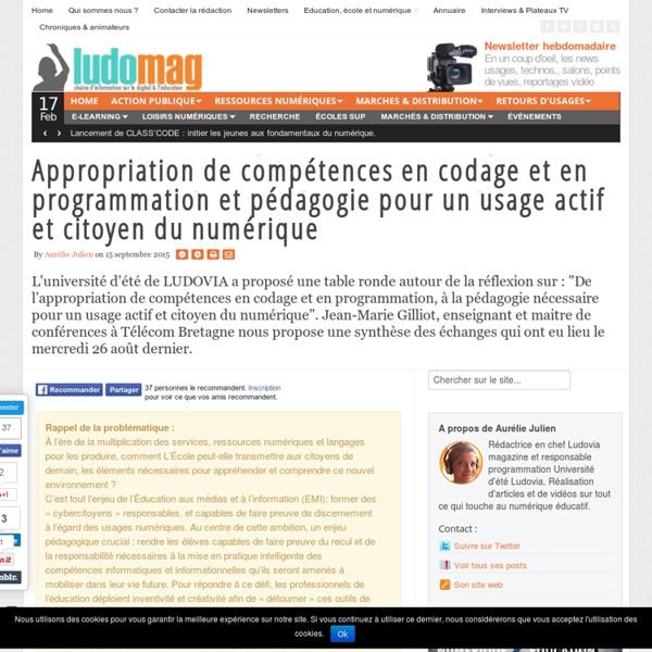Appropriation de compétences en codage et en programmation et pédagogie pour un usage actif et citoyen du numérique