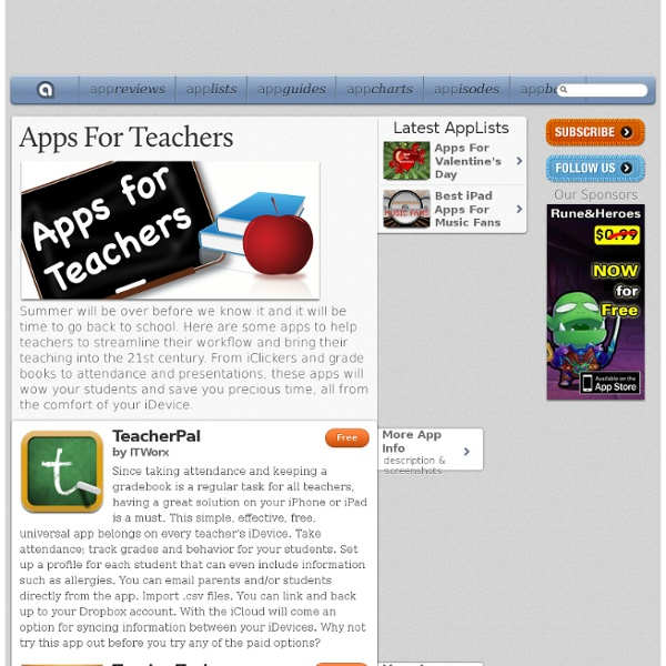 Apps For Teachers: iPad/iPhone Apps AppList