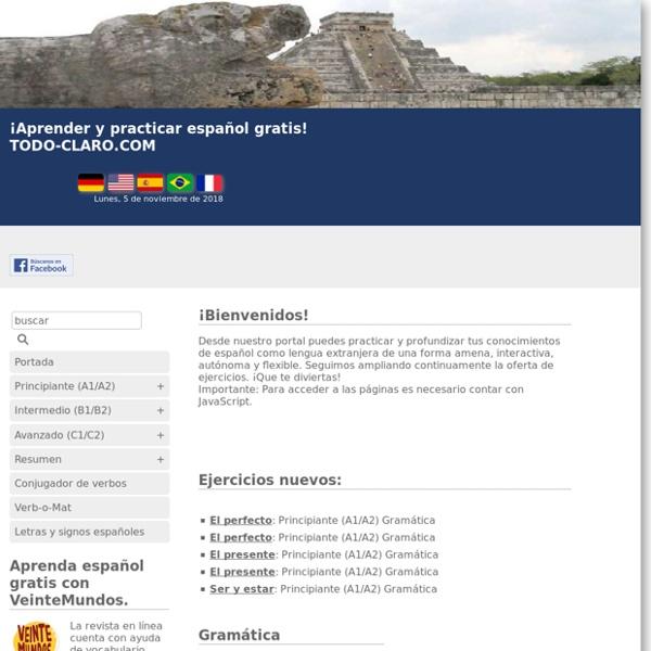 Aprender y practicar español gratuitamente - TODO-CLARO.COM