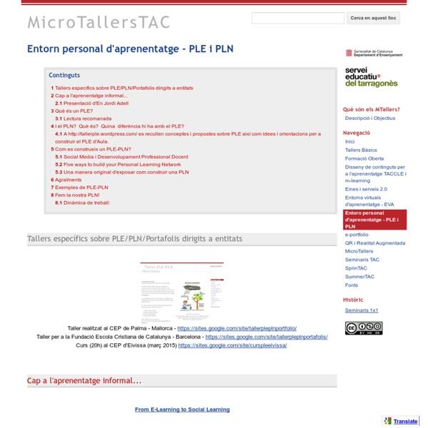 Entorn personal d'aprenentatge - PLE i PLN - MicroTallersTAC