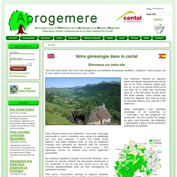 Aprogemere Genealogie Cantal