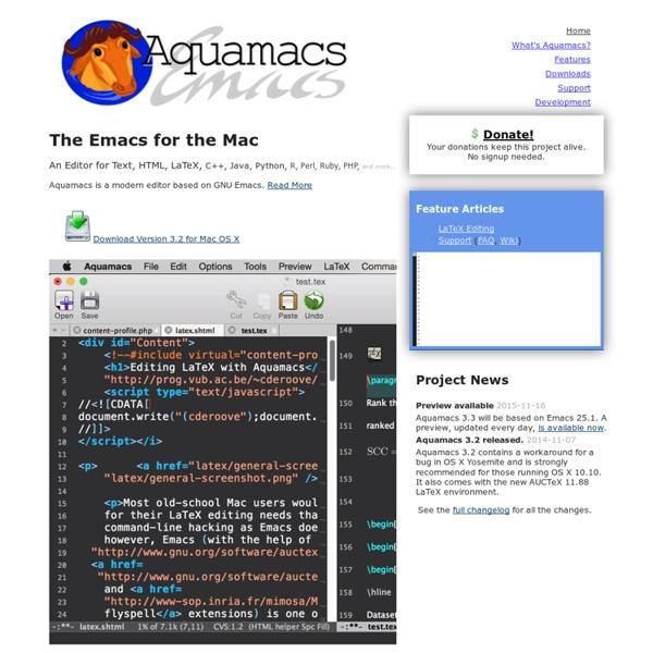 Aquamacs: Emacs for Mac OS X