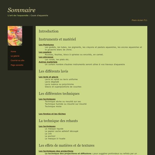 Aquarelle Cours Sommaire