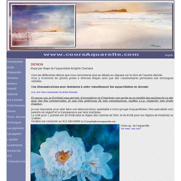 Démos étape-par-étape de l'aquarelliste Brigitte Charland