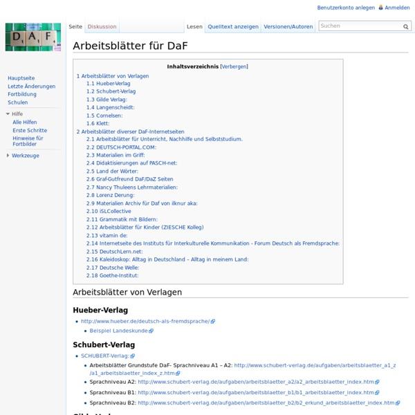 Arbeitsblätter für DaF – DaF-Wiki
