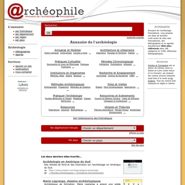 Archeologie sur Archeophile.com