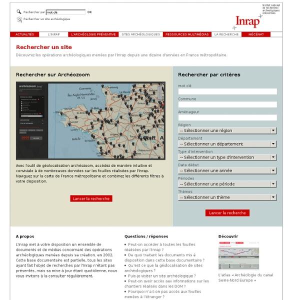Carte archéologique de la France pour les fouilles d'archéologie préventive et chantiers archéologiques de l'Inrap, sites Gaulois
