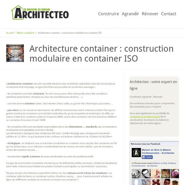 → Architecture container : construction modulaire en container ISO