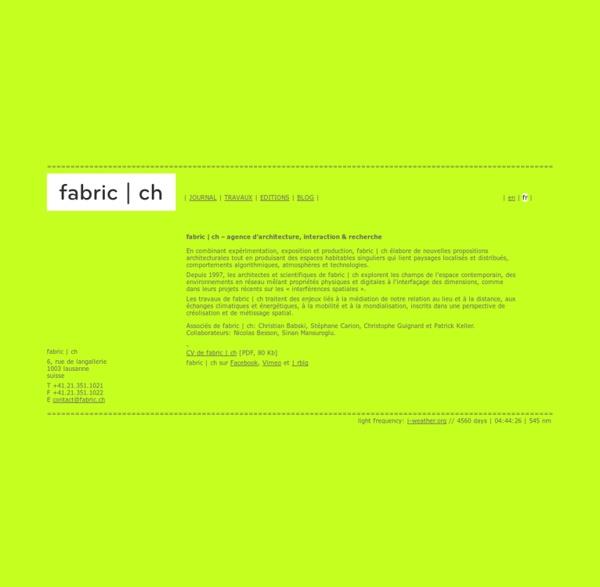 Ch - architecture, interaction & recherche - www.fabric.ch - suisse