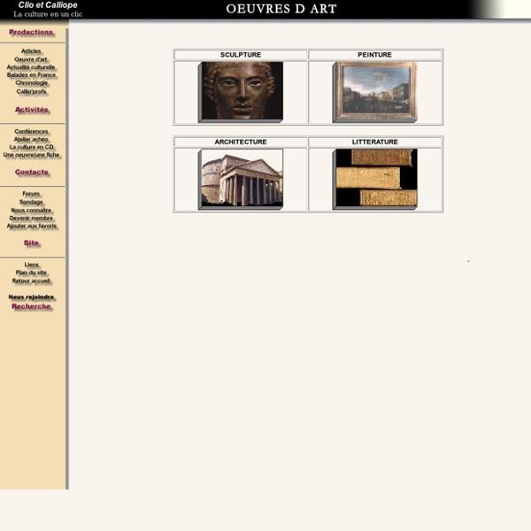 Oeuvres d'art, peinture, sculpture, architecture, litterature
