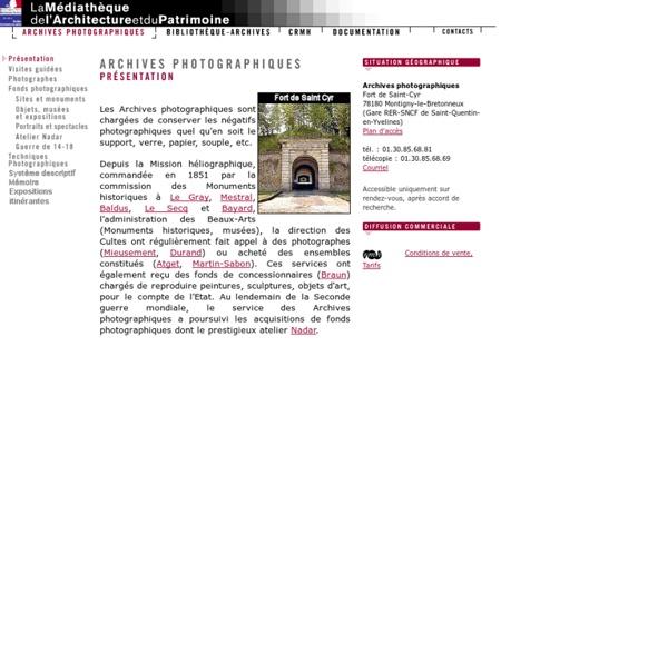 Médiathèque de l'architecture et du patrimoine. Archives photographiques