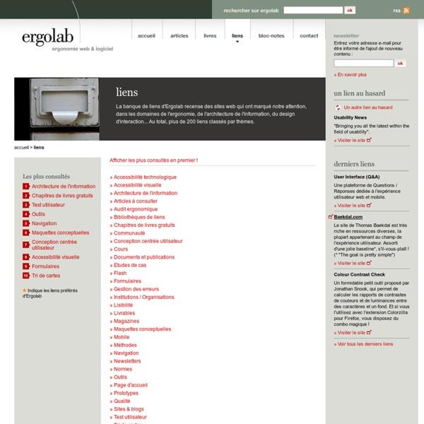 Liens - ergonomie, architecture de l'information, utilisabilité