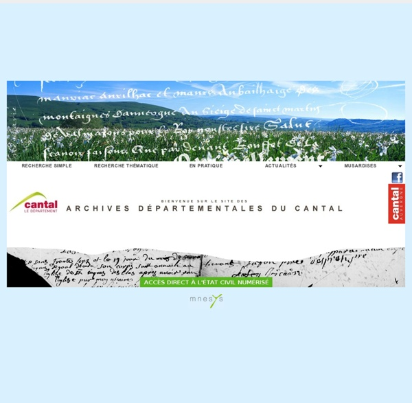 Site web des Archives départementales du Cantal - accueil