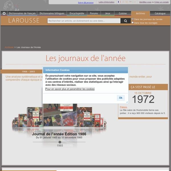 Archives Larousse - Journaux de l'année