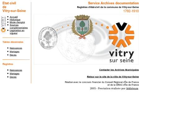 Archives municipales de Vitry-sur-Seine - Etat civil de Vitry-sur-Seine