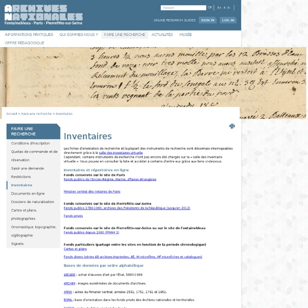 Inventaire Archives nationales FR