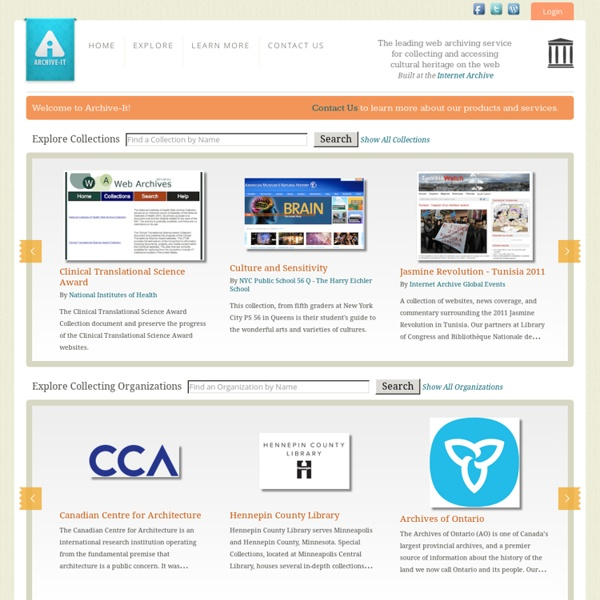 Archive-It - Web Archiving Services for Libraries and Archives