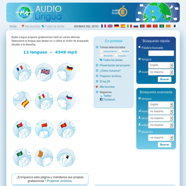 Audio Lingua - archivos mp3 en inglés, alemán, español, francés