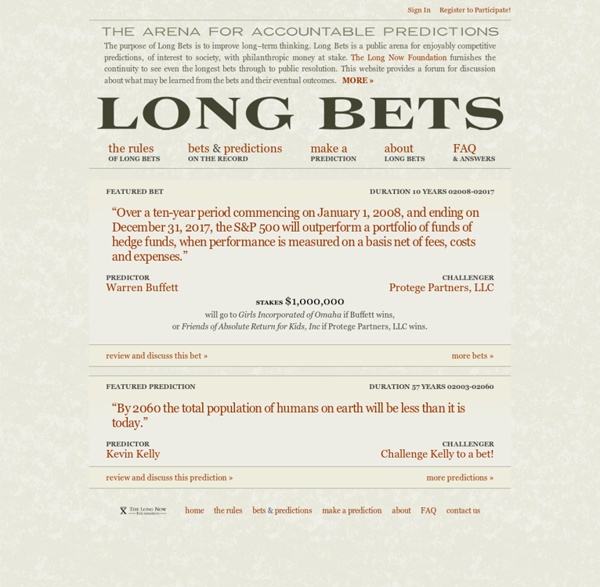 The Arena for Accountable Predictions - Long Bets