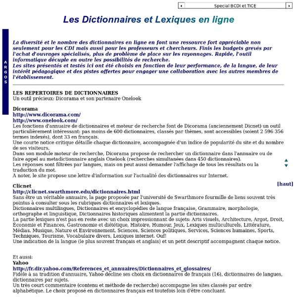 Argos : dictionnaires et lexiques en ligne