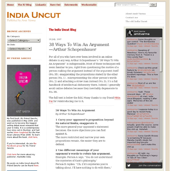 38 Ways To Win An Argument—Arthur Schopenhauer - The India Uncut Blog - India Uncut