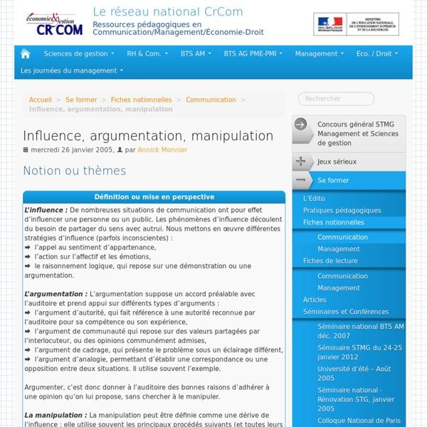 Influence, argumentation, manipulation