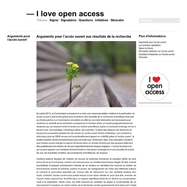 Arguments pour l'accès ouvert aux résultats de la recherche