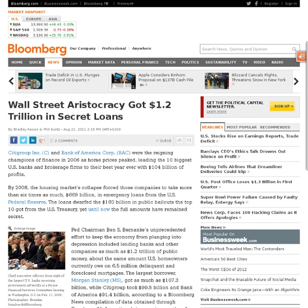 Wall Street Aristocracy Got $1.2 Trillion From Fed