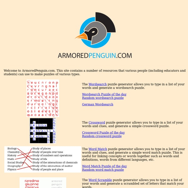 ArmoredPenguin.com - Create puzzles and other diversions